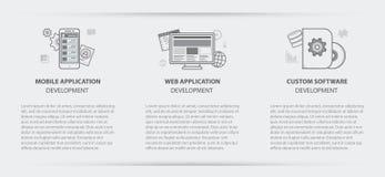Business concept menu banner of web app custom application. Flat line illustration business concept menu banner set of web application development, application Royalty Free Stock Photo