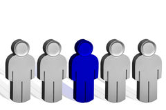 Business Concept metal 3D. People standing in a Line with One person Standing out from the crowd Stock Images
