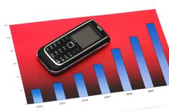 Business concept with mobile phone over the bar chart Stock Photography
