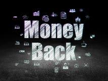 Business concept: Money Back in grunge dark room. Business concept: Glowing text Money Back,  Hand Drawn Business Icons in grunge dark room with Dirty Floor Stock Photography