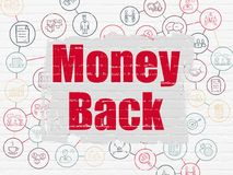 Business concept: Money Back on wall background. Business concept: Painted red text Money Back on White Brick wall background with Scheme Of Hand Drawn Business Stock Images