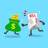 Business concept money bag escaping from bill payment Royalty Free Stock Image