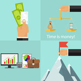 Business concept, money and check in hand, time money, hand puts flag on the mountain, concept of start-up Royalty Free Stock Photography