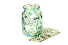 Business concept. money in the jar royalty free stock images