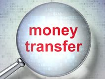 Business concept: Money Transfer with optical glass. Business concept: magnifying optical glass with words Money Transfer on digital background, 3D rendering Stock Images