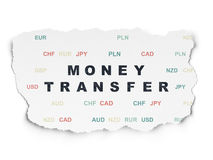Business concept: Money Transfer on Torn Paper Stock Photography