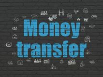 Business concept: Money Transfer on wall background. Business concept: Painted blue text Money Transfer on Black Brick wall background with  Hand Drawn Business Stock Photos