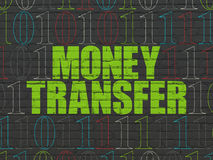 Business concept: Money Transfer on wall. Business concept: Painted green text Money Transfer on Black Brick wall background with Binary Code, 3d render Stock Photo