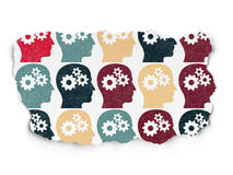 Business concept: multicolor Head With Gears icons. Business concept: Painted multicolor Head With Gears icons on Torn Paper background, 3d render Royalty Free Stock Photography