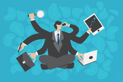 Business concept. Multitasking businessman. Business concept. Multitasking businessman working very busy with many hands holding multiply devices and clocks for Royalty Free Stock Image