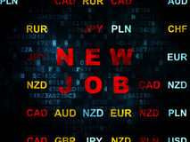 Business concept: New Job on Digital background. Business concept: Pixelated red text New Job on Digital wall background with Currency, 3d render Royalty Free Stock Image