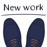 Business concept a new job. Feet on the road. Make a choice. Vector Royalty Free Stock Photos