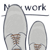 Business concept a new job. Feet in shoes on the road. Make a choice. Vector Stock Image