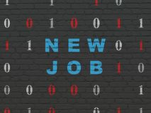 Business concept: New Job on wall background. Business concept: Painted blue text New Job on Black Brick wall background with Binary Code Stock Image