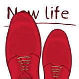 Business concept new life. Feet on the road. Make a choice. Vector Royalty Free Stock Images