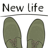 Business concept new life. Feet in shoes on the road. Make a choice. Vector Stock Photos
