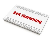 Business concept: newspaper headline Belt-tightening. On White background, 3D rendering Royalty Free Stock Images