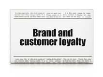 Business concept: newspaper headline Brand and Customer loyalty. On White background, 3D rendering royalty free stock photo