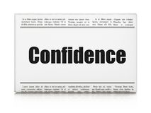 Business concept: newspaper headline Confidence. On White background, 3D rendering Stock Image