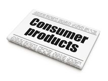 Business concept: newspaper headline Consumer Products. On White background, 3D rendering Royalty Free Stock Photos