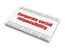 Business concept: newspaper headline Corporate Social Responsibility. On White background, 3D rendering Stock Photos