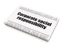 Business concept: newspaper headline Corporate Social Responsibility. On White background, 3d render Royalty Free Stock Image