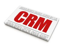 Business concept: newspaper headline CRM. On White background, 3D rendering Royalty Free Stock Photo