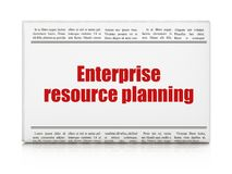 Business concept: newspaper headline Enterprise Resource Planning. On White background, 3D rendering Stock Photos