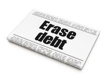Business concept: newspaper headline Erase Debt. On White background, 3D rendering Royalty Free Stock Image