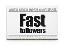 Business concept: newspaper headline Fast Followers. On White background, 3D rendering Stock Photography