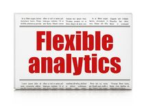 Business concept: newspaper headline Flexible Analytics. On White background, 3D rendering Royalty Free Stock Photos