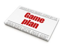 Business concept: newspaper headline Game Plan. On White background, 3D rendering Royalty Free Stock Photo