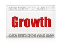 Business concept: newspaper headline Growth. On White background, 3D rendering Stock Photo