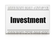 Business concept: newspaper headline Investment. On White background, 3D rendering Stock Photography