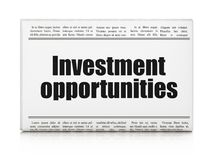 Business concept: newspaper headline Investment Opportunities. On White background, 3D rendering Royalty Free Stock Photos