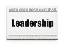 Business concept: newspaper headline Leadership. On White background, 3D rendering Royalty Free Stock Images