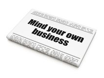 Business concept: newspaper headline Mind Your own Business. On White background, 3D rendering Stock Photography