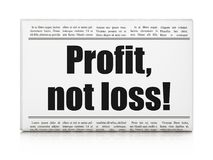 Business concept: newspaper headline Profit, Not Loss!. On White background, 3D rendering Royalty Free Stock Image