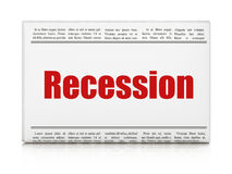 Business concept: newspaper headline Recession. On White background, 3D rendering Stock Images