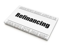 Business concept: newspaper headline Refinancing. On White background, 3D rendering Royalty Free Stock Images
