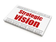 Business concept: newspaper headline Strategic Vision. On White background, 3D rendering Stock Images