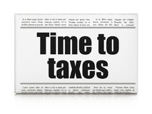 Business concept: newspaper headline Time To Taxes. On White background, 3D rendering Stock Images