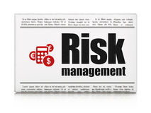 Business concept: newspaper with Risk Management. Business concept: newspaper headline Risk Management and Calculator icon on White background, 3d render Royalty Free Stock Photos