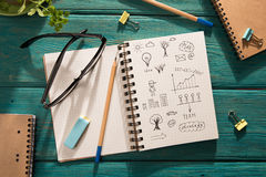 business concept - notepad with sketch on the desk Royalty Free Stock Images