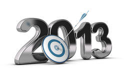 Business Concept - 2013 Objectives Achieved. 3D metallic Year 2013 with a target at the foreground with an arrow hitting the center, concept image for achieving vector illustration