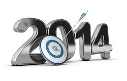 Business Concept - 2014 Objectives. 3D metallic Year 2014 with a target at the foreground with an arrow hitting the center, concept image for achieving business royalty free illustration