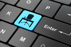Business concept: Office on computer keyboard background. Business concept: computer keyboard with Office icon on enter button background, 3D rendering Stock Photo