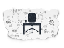 Business concept: Office on Torn Paper background. Business concept: Painted black Office icon on Torn Paper background with Scheme Of Hand Drawn Business Icons Stock Image