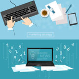 Business concept office work laptop hands businessman. Analysis of profit and sales tactics and strategy of startups vector web banners Stock Photography