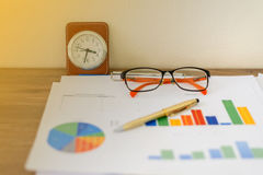 Business concept of office working and analysis graphics and clo Stock Photo